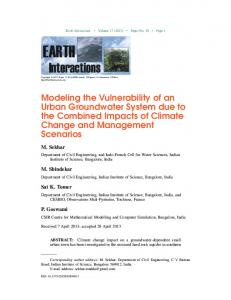 Modeling the Vulnerability of an Urban Groundwater System due to ...