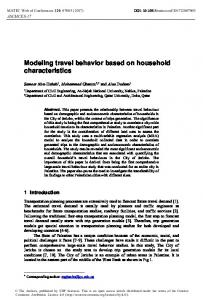Modeling travel behavior based on household characteristics