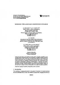 MODELING TWO-LANGUAGE COMPETITION DYNAMICS 1 ... - IFISC