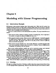 Modeling with Linear Programming