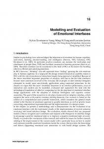 Modelling and Evaluation of Emotional Interfaces 16 - IntechOpen