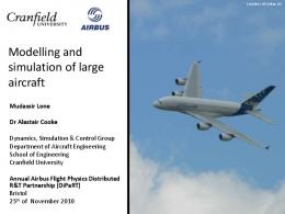Modelling and simulation of large aircraft