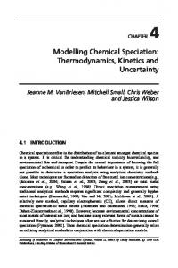 Modelling Chemical Speciation: Thermodynamics, Kinetics and ...