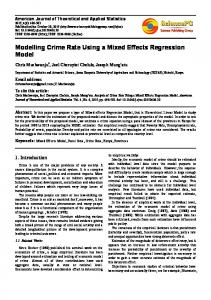 Modelling Crime Rate Using a Mixed Effects Regression Model