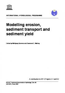 Modelling erosion, sediment transport and sediment yield - Hydrology.nl