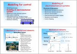 Modelling for control - Free