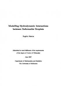 Modelling Hydrodynamic Interactions between