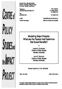 Modelling Major Projects: What are the Factors that Determine Net