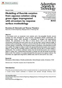 Modelling of fluoride sorption from aqueous solution ... - SAGE Journals