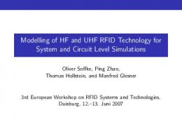 Modelling of HF and UHF RFID Technology for ... - RFID-SysTech