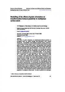 Modelling of the effects of grain orientation on ... - CiteSeerX
