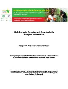 Modelling price formation and dynamics in the Ethiopian maize market