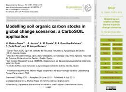 Modelling soil organic carbon stocks in global change ...
