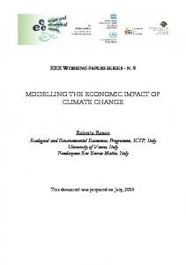 MODELLING THE ECONOMIC IMPACT OF CLIMATE CHANGE