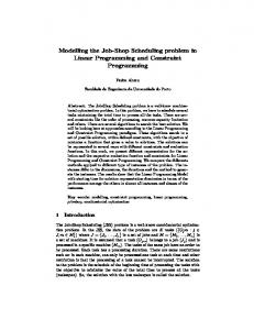 Modelling the Job-Shop Scheduling problem in Linear Programming ...