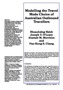 Modelling the Travel Mode Choice of Australian Outbound ... - JCU