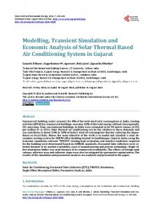 Modelling, Transient Simulation and Economic Analysis of Solar ...