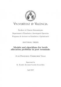Models and algorithms for berth allocation problems in port terminals