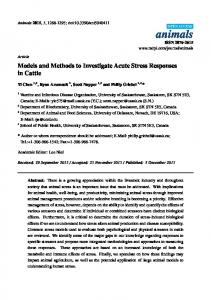 Models and Methods to Investigate Acute Stress