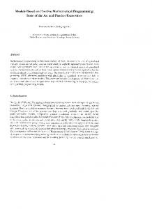 Models Based on Positive Mathematical Programming: State of the ...