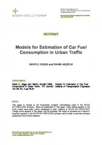 Models for Estimation of Car Fuel Consumption in ... - SIDRA Solutions