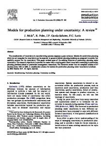 Models for production planning under uncertainty: A review