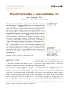 Models for Spiritual Care in Hospice and Palliative Care