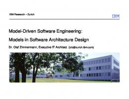 Models in Software Architecture Design - IBM Research