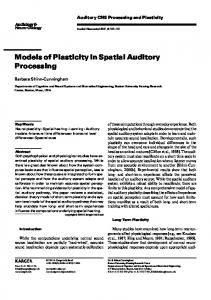 Models of Plasticity in Spatial Auditory Processing - Department of ...