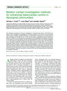 Modern contact investigation methods for enhancing tuberculosis ...