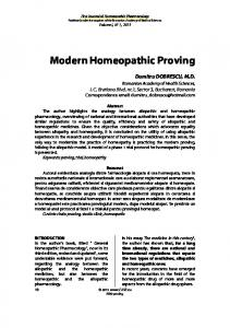 Modern Homeopathic Proving - First Journal of Homeopathic ...