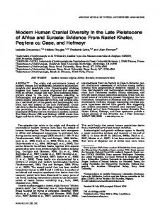 Modern human cranial diversity in the Late ... - Wiley Online Library