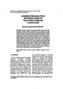 Modern Information Technologies in Teaching Foreign Languages