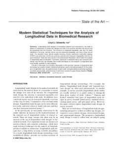 Modern statistical techniques for the analysis of