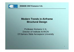 Modern Trends in Airframe Structural Design