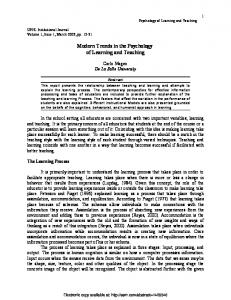 Modern Trends in the Psychology - SSRN papers