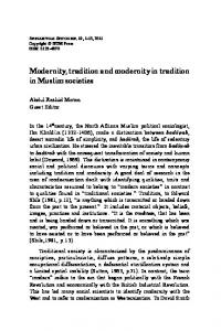 Modernity, tradition and modernity in tradition in ... - IIUM Journals