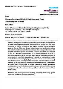 Modes of Action of Herbal Medicines and Plant Secondary Metabolites