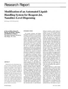 Modification of an Automated Liquid-Handling System for Reagent-Jet ...
