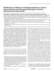 Modification of Rifamycin Polyketide Backbone Leads to Improved ...