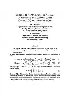 MODIFIED FRACTIONAL INTEGRAL OPERATORS IN Lp SPACE ...