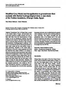 Modified Grey Model and its application to groundwater flow analysis