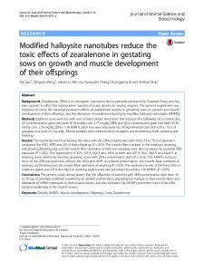 Modified halloysite nanotubes reduce the toxic effects of zearalenone ...