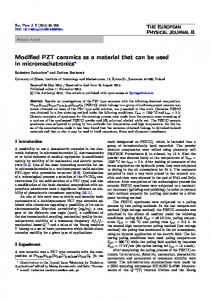 Modified PZT ceramics as a material that can be used in ... - Core