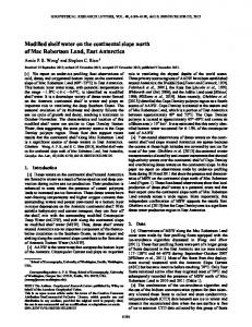 Modified shelf water on the continental slope ... - Wiley Online Library
