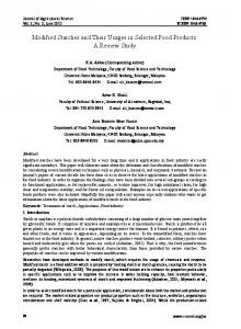 Modified Starches and Their Usages in Selected Food Products: A ...