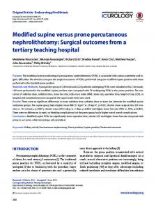 Modified supine versus prone percutaneous nephrolithotomy: Surgical ...