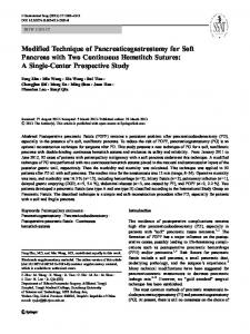 Modified Technique of Pancreaticogastrostomy for Soft ... - Springer Link