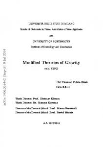 Modified Theories of Gravity