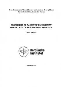 modifiers of patients' emergency department care